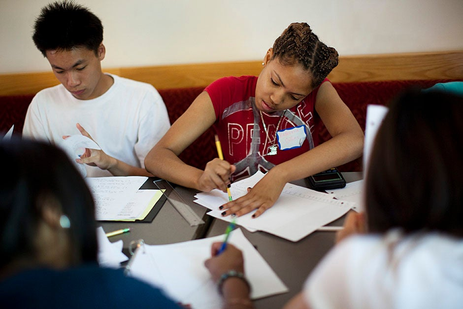 Students work on a problem set during the Crimson Summer Academy. Stephanie Mitchell/Harvard Staff Photographer