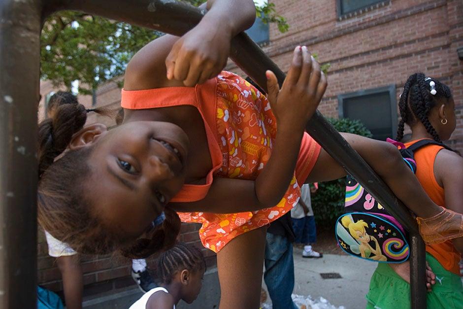 A Boston student plays during PBHA's Summer Urban Program. Kris Snibbe/Harvard Staff Photographer