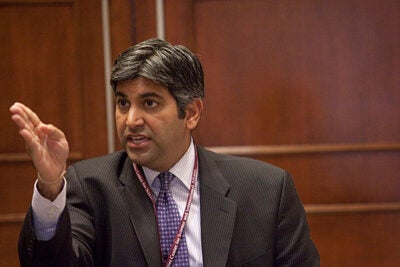 Aneesh Chopra, a 1997 graduate of the Kennedy School of Government who is President Obama's chief technology officer, told those attending the two-day conference that technology-enabled solutions stem from action-oriented rather than program-focused thinking.