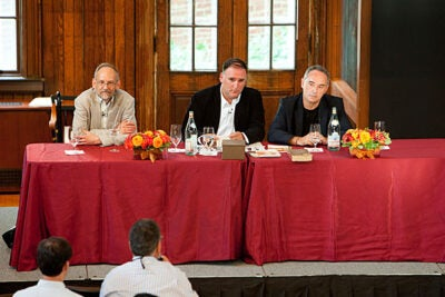 The first event was held in September, with more than 200 faculty members gathering for a talk with world-renowned chef Ferran Adria (far right). Other panelists included Harold McGee (left) and Jose Andres (center).