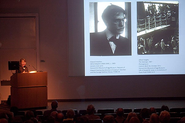 "Deborah Martin Kao spoke on Alfred Stieglitz (1864-1946) at the first event in this year's series of In-Sight Evenings at the Harvard Art Museums. Kao, Richard L. Menschel Curator of Photography, called Stieglitz ""an artist who is bigger than life."""