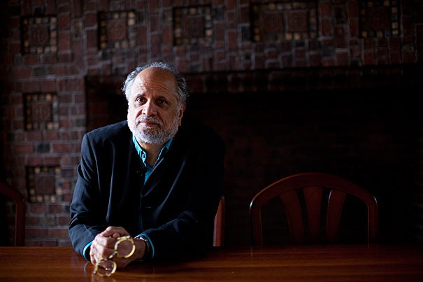 "Homi Bhabha (above), director of the Humanities Center at Harvard, says that the $10 million gift to the center by Anand Mahindra '77, M.B.A. '81, ""emphasizes the global reach of the humanities. The humanities are a global project."""