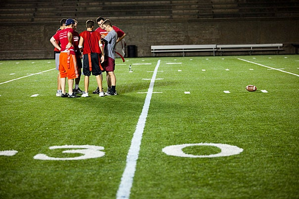 Winthrop House intramural sports teams have dominated the field, winning the Straus Cup three years in a row. In a fall semester match, Winthrop scores a victory against Mather House in flag football.