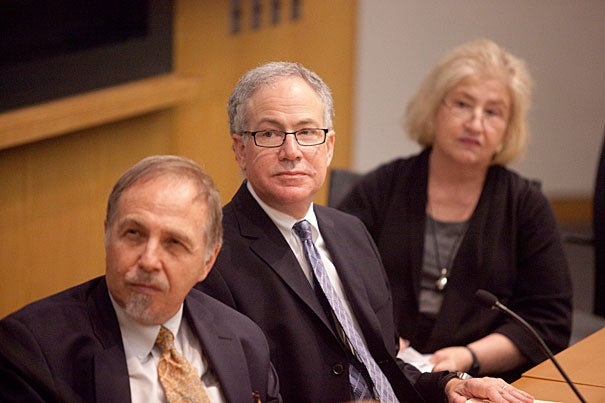 """Arthur Kleinman (from left), director of the Harvard University Asia Center, Allan Brandt, dean of the Harvard Graduate School of Arts and Sciences, and Carole Vance of Columbia University were among the panelists at the conference """"Sex Work in Asia."""""""