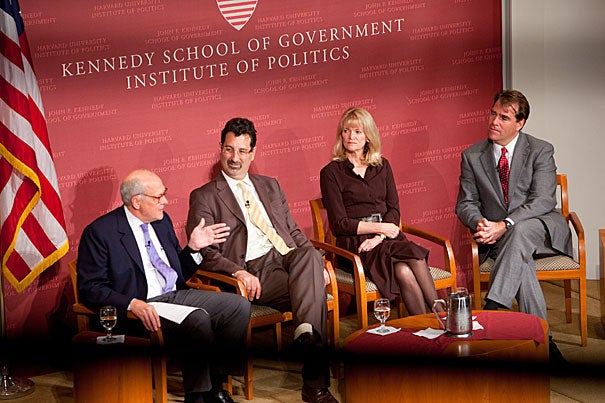 "The Harvard Kennedy School held  a conversation on investigative journalism titled ""In the Spirit of David Halberstam."" It included moderator Alex Jones (from left), Stephen Engelberg, managing editor of ProPublica, Martha Raddatz, senior foreign affairs correspondent for ABC News, and Charles M. Sennott, executive editor and vice president of the GlobalPost."