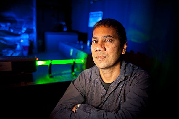 """Professor Venkatesh N. Murthy and his colleagues at Harvard and Cold Spring Harbor Laboratory used light to study smell, applying the infant field of optogenetics to the question of how cells in the brain differentiate between odors. """"In order to tease apart how the brain perceives differences in odors, it seemed most reasonable to look at the patterns of activation in the brain,"""" Murthy said."""