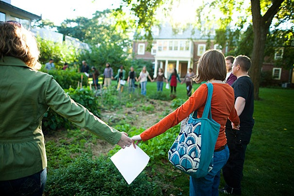 """""""The idea is that we build community around the food we grow,"""" said Timothy Severyn, M.T.S. '11, co-coordinator of the Harvard Divinity School Community Garden. The garden is just one of the School's many sustainability efforts."""