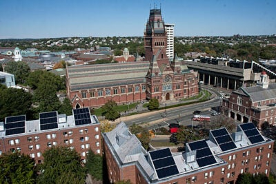 """I love knowing that my hot water comes from solar panels on my dorm. It is a great idea,"" said Canaday Hall resident Jody Heck '14. The freshman dorm has been outfitted with solar panels — part of a solar thermal and steam tunnel heat-recovery project that's expected to supply at least 60 percent of domestic hot water for all buildings in the Yard."