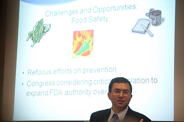 Joshua Sharfstein said he wanted to speak at the Harvard School of Public Health because the FDA is interested in strengthening its ties to the nation's public health community. The FDA, Sharfstein said, got its start in crisis and has seen its growth and influence driven by various health concerns since then.