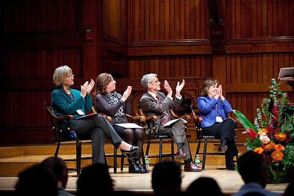 President Drew Faust (left), Kathy A. Spiegelman, director of Harvard Capital Planning and Project Management, Professor David R. Pilbeam, and Vice President for Human Resources Marilyn Hausammann shared the stage at Sanders Theatre during the 56th annual 25-Year Recognition Ceremony.
