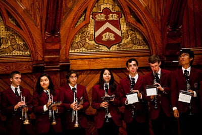 Members of the Harvard Band perform at Freshman Parents Weekend.