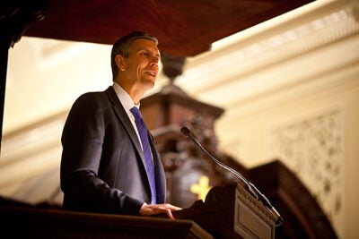 """U.S. Secretary of Education Arne Duncan received the 2010 Robert Coles """"Call of Service"""" Award and delivered an accompanying lecture, telling the audience, """"We need to make education our national mission."""""""