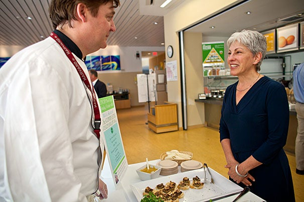 Noted chef Mollie Katzen, who is also a member of the Harvard University Hospitality and Dining Services advisory committee, meets with Martin Breslin, HUDS director for culinary operations.