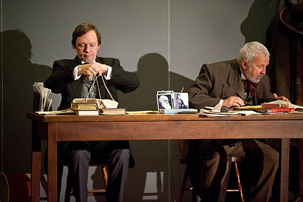 """Re: Design,"" a dramatization of the correspondence between Darwin and Gray was performed at the Harvard Museum of Natural History. Many of the stage props were historically accurate artifacts taken from the museum's holdings. Gray (left) was played by Patrick Morris, with Terry Molloy taking on the role of Darwin."