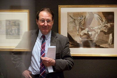 """David Bindman, the 2010 Sheila Biddle Ford Foundation Fellow at the W.E.B. Du Bois Institute, calls the Harvard Art Museums' robust collection of British works from the early 19th century a """"hidden collection."""" An intimate exhibit of these works is on display in connection with Bindman's class, """"The Past and the Present: British Art of the 19th Century."""""""