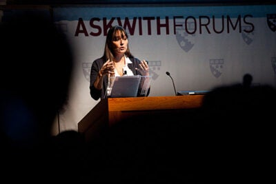 "Posse Foundation founder Deborah Bial, Ed.M.'96, Ed.D.'04, addressed ""The Politics of Race and Class in Higher Education"" at the Graduate School of Education's Askwith Forum."