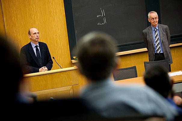 """There are so many exciting and interesting trends in contemporary Quranic scholarship,"" said German scholar Stefan Wild (left), though problems remain. ""The avalanche of studies that claim to have the black box"" to unlocking the Quran for modern scholars, Wild said, simply do not. Baber Johansen, director of the Center for Middle Eastern Studies (right), was moderator of the lecture series."