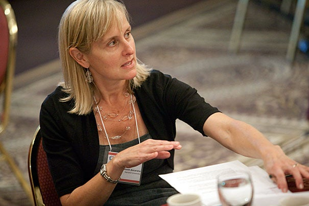 """The greatest benefit about a day like today is the sharing of information among members, including members who have come from the same institutions and from across institutions,"" said Elizabeth Ancarana, Harvard assistant dean for faculty development, during a general assembly of the New England Higher Education Recruitment Consortium."
