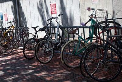 Bike racks fill up fast around campus.