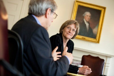 Harvard President Drew Faust (right) and Harvard Corporation Senior Fellow Robert Reischauer (left) speak with the Harvard Gazette about the work of the Corporation.