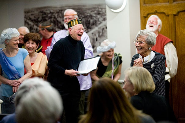 It's a full life for retirees at Harvard. In addition to the Harvard University Retirees Association, there's the Harvard Institute for Learning in Retirement. Last year they performed a medley of Shakespearean scenes to celebrate the 100th birthday of member Frances Addelson (far right).