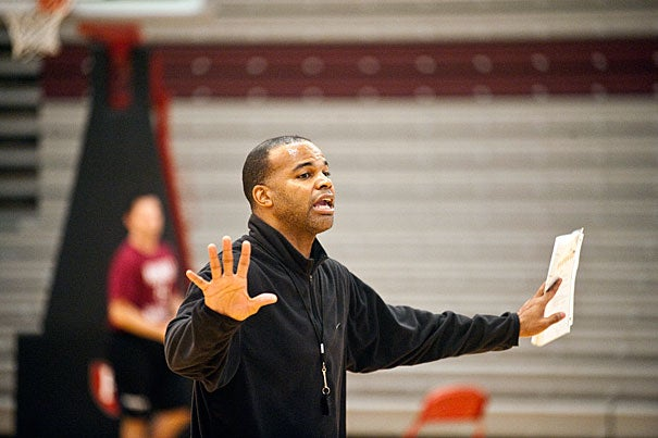 """""""Coach Amaker (pictured) is hands-on,"""" says Kyle Casey '13. """"He pushes to get the best out of us. That's what I like. He's defensive-minded. His energy flows right down the line through the coaches, the team, and the managers. If you look at his eyes, you can see the fire."""""""