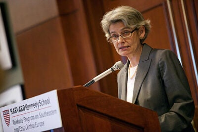 "People have become fearful because they no longer feel protected by boundaries; consider the rise of xenophobia in Europe. ""People fear change ...,"" Irina Bokova, a former minister in Bulgaria who last year was elected UNESCO's first female director-general, told her Harvard audience."