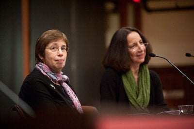"Linda Greenhouse (left), a former New York Times reporter and now the Joseph Goldstein Lecturer in Law at Yale University, and Reva Siegel, the Nicholas deB. Katzenbach Professor of Law at Yale, provided new perspectives on interpreting Roe v. Wade in a talk at Radcliffe Nov. 4. ""More than we expected, we found ourselves documenting political conflict which emerged … before the Supreme Court said a word,"" Greenhouse told the audience."