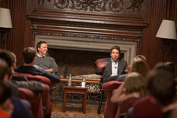 """The first thing we do is to try to make sure that we think it's funny,"" Bobby Farrelly (right) told a Harvard audience at Kirkland House Nov. 22. ""Yes, teenage boys come into it,"" added brother Peter (left), ""only because I think that's what appeals to us."""