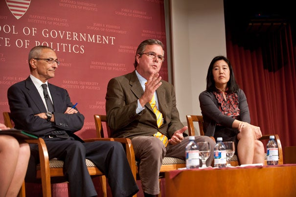 "John Podesta (from left), Jeb Bush, and Michelle Rhee offered ideas on education reform at a Harvard Kennedy School talk Nov. 18. ""I made education the chief political issue before I made it the chief policy issue,"" said Bush, who is finishing a weeklong visiting fellowship at the Institute of Politics. ""If you have a passion for something, you shouldn't keep it a secret."""