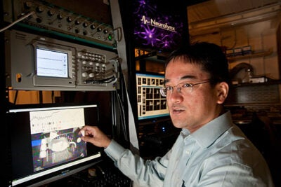 Naoshige Uchida (above), an associate professor of molecular and cellular biology at Harvard, tracked the effects of single sniffs in an area of the brain called the olfactory bulb. What makes the study unique is the fact that Uchida and graduate student Kevin Cury conducted the research on awake, moving animals.