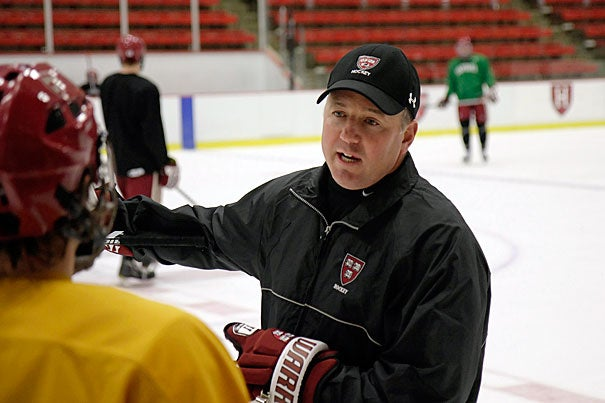 """Faced with a seven-game losing streak, Harvard hockey coach Ted Donato is unfazed. """"We're confident that if we focus on continuing to improve, we'll have success and we'll be competitive within our league and on a national level,"""" said Donato."""