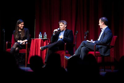 "A.R.T. Artistic Director Diane Paulus (left) and Stephen Schwartz, the famous lyricist and composer known for his hit musicals ""Godspell"" and ""Pippin,"" held a discussion about the American musical. A.R.T. dramaturg Ryan McKittrick (far right) was the evening's moderator."