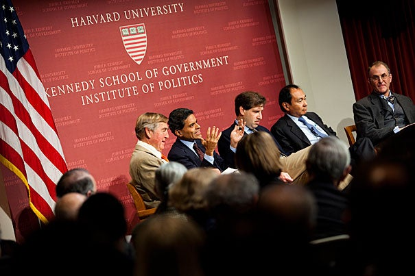 """Sam's legacy is … vibrant in the current thinking of his students,"" said Graham Allison, who moderated a panel on Huntington at the John F. Kennedy Jr. Forum. The panelists — all Harvard Ph.Ds who were either Huntington's students or influenced by him — acknowledged his qualities as a teacher, debater, and scholar. The panel included (from left) Graham Allison, Fareed Zakaria, Gideon Rose, Francis Fukuyama, and Eliot Cohen."