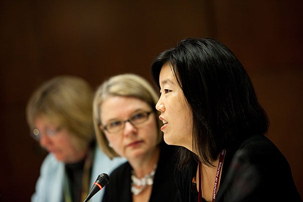 The panel, led by Harvard Graduate School of Education Dean Kathleen McCartney (far left), included former Bush Education Secretary Margaret Spellings (center) and former Washington, D.C., schools Chancellor Michelle Rhee.