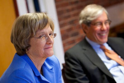 Harvard President Drew Faust (left) and Robert Reischauer, the Corporation's senior fellow, discuss the changes within the Corporation, including its first expansion since its creation 360 years ago.