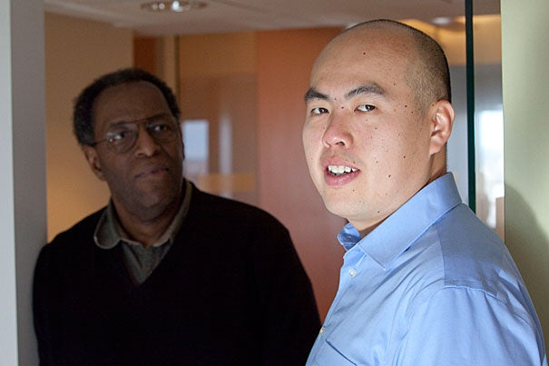 "Arnold K. Ho (right), a Ph.D. student in psychology at Harvard, and James Sidanius, a professor of psychology and of African and African-American studies at Harvard, researched the ""one-drop rule."" They say their work reflects the cultural entrenchment of America's traditional racial hierarchy, which assigns the highest status to whites, followed by Asians, with Latinos and blacks at the bottom."