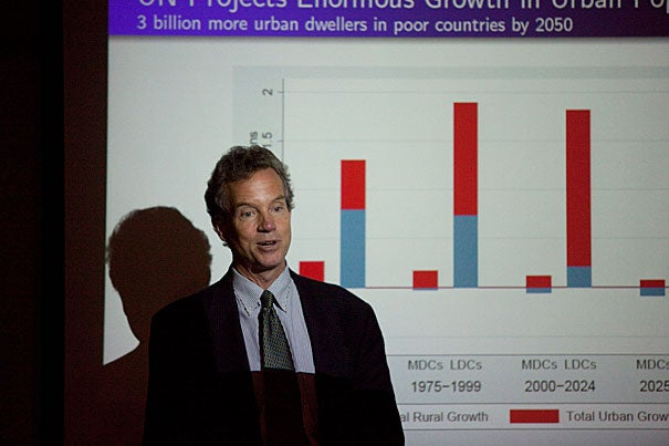 Because of a lack of investment in infrastructure, the developing world is already vulnerable to effects that climate change is expected to make worse, Mark Montgomery told his audience at Harvard's Center for Population and Development Studies. The professor of economics from Stony Brook University used last summer's flooding in Pakistan, which left millions of people homeless and destroyed bridges, homes, schools, and hospitals, as an example.