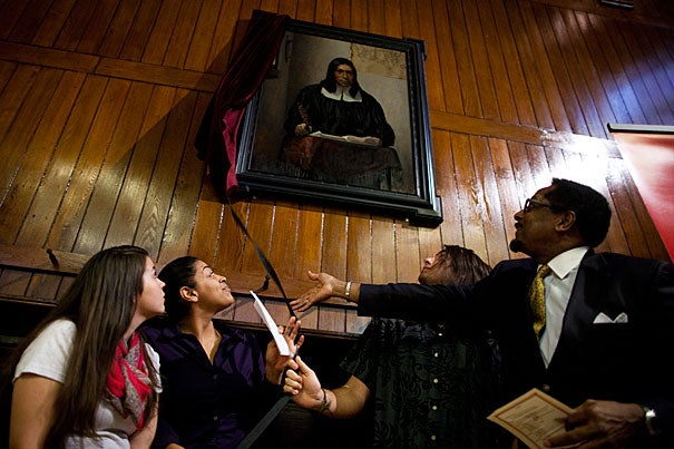 """""""I am happy that our Native American students are pleased with the portrait, and have requested that it be hung in Annenberg Hall so that future classes of Harvard students will be made aware of the Native American presence at Harvard since its creation,"""" said S. Allen Counter (right), director of the Harvard Foundation."""