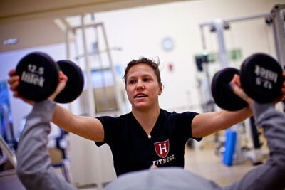 "Co-sponsored by the Harvard Recreation Department and the Center for Wellness, Maintain Don't Gain pits teams of four to six people against each other for prizes such as personal training sessions, private classes for the team, a massage, a team lunch — ""and bragging rights,"" says Kerry L. Smith, programs manager and a personal trainer at Hemenway Gymnasium. A similar program, Team Fitness Challenge, kicks off Jan. 31."
