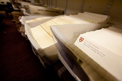 Harvard received nearly 35,000 applications this year. Notification letters will be mailed on March 30.