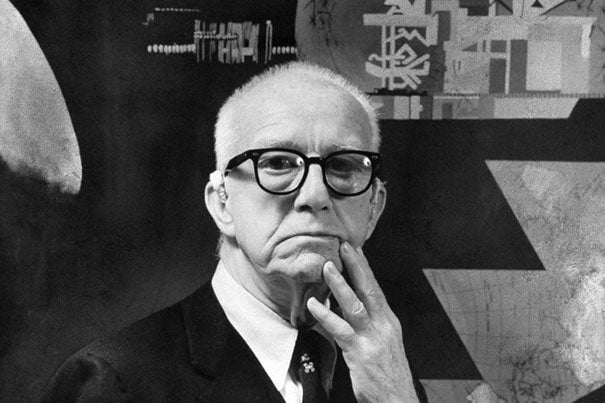 """Harvard gave R. Buckminster Fuller a gift beyond academics, his biographers say: a lifelong preoccupation with human welfare, and the social, technical, and economic problems that vex the modern age. """"R. Buckminster Fuller: The History (and Mystery) of the Universe,"""" a two-act monologue performed by A.R.T. veteran Thomas Derrah, explores the life and ideas of the inventor and futurist."""