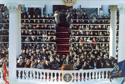 Jan. 20, 1961: John F. Kennedy, the 35th president of the United States, gives his inaugural address in Washington, D.C.