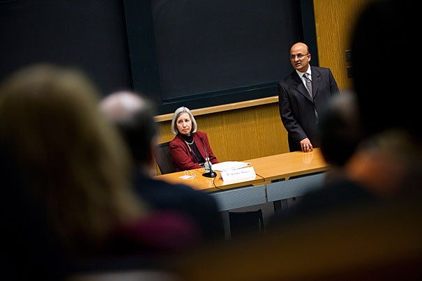 """For the first session, """"Strategic Decision-Making in International Affairs,""""  Jorge Dominguez, the vice provost for international affairs, was joined by HLS Dean Martha Minow (seated left), and HBS Dean Nitin Nohria (right). Nohria said the global environment for business schools is changing rapidly. """"Our edge is … that we can bring to anyplace in the world the best global thinking. If we can do that, I think the best and the brightest from around the world … will still choose to come to us."""""""