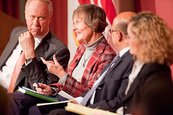 """People write about leadership without ever getting around to defining it,"" said Nan Keohane (second from left) during a leadership forum sponsored by the Harvard Kennedy School. David Gergen (far left), director of the Center for Public Leadership, moderated the discussion, which included Nitin Nohria, dean of Harvard Business School and Monica Higgins, a professor at the Harvard Graduate School of Education."