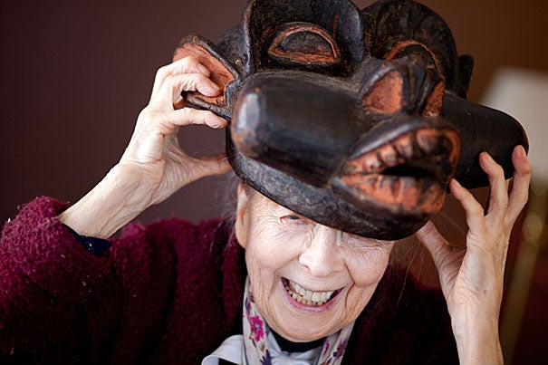 """Monni Adams, a researcher at the Peabody Museum, turned 90 in October and says she doesn't plan to stop anytime soon. Her latest venture is the exhibit """"Masked Festivals of Canton Bo (Ivory Coast), West Africa,"""" which grew out of a year Adams spent living among the people of the dense forests in Liberia and the Ivory Coast from 1989 to 1990."""