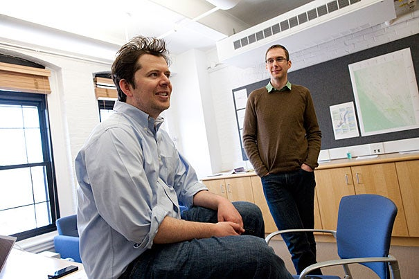 Brendan Meade (left) and Jack Loveless tackled a question fundamental to how earth scientists think about the ground we live on: Is plate tectonics applicable on a continental scale? The answer is yes, according to their study, published in the journal Earth and Planetary Sciences Letters.