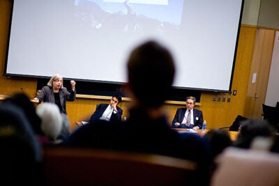 Theda Skocpol (from left) of Harvard University, Amitabh Chandra of Harvard Kennedy School, and Paul Starr of Princeton University spoke at a Harvard Kennedy School panel discussion on the impact, failures, and future of health care reform.