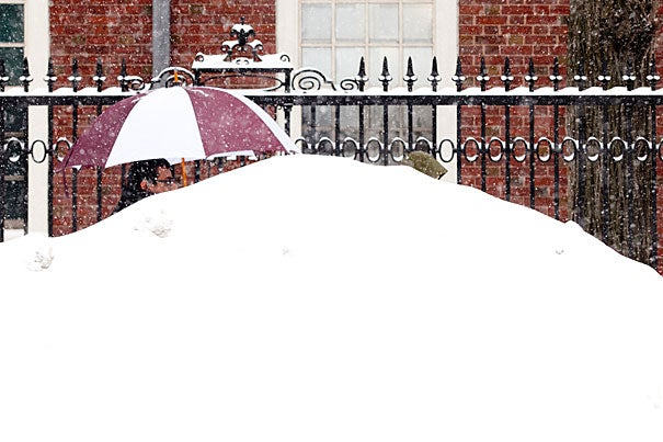 Snow boots? Check. Parka? Check. Umbrella? Why, what a clever snow-shielding weapon!