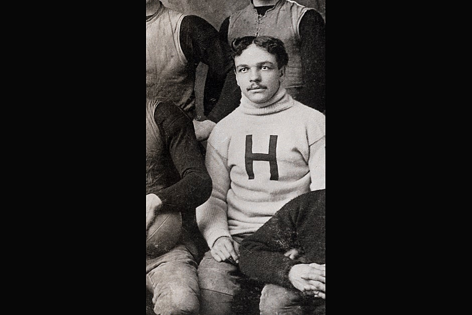 William H. Lewis, LL.B. 1895, was the first African American named to a College Football All-America Team. He was the first African American to be honored as an All-American. Lewis was hired as a football coach at Harvard, where he served from 1895 to 1906. This Varsity Football Team fall season photograph shows a close-up of Lewis in 1892. Credit: Harvard University Archives, call # UAV 170.270.2 PF